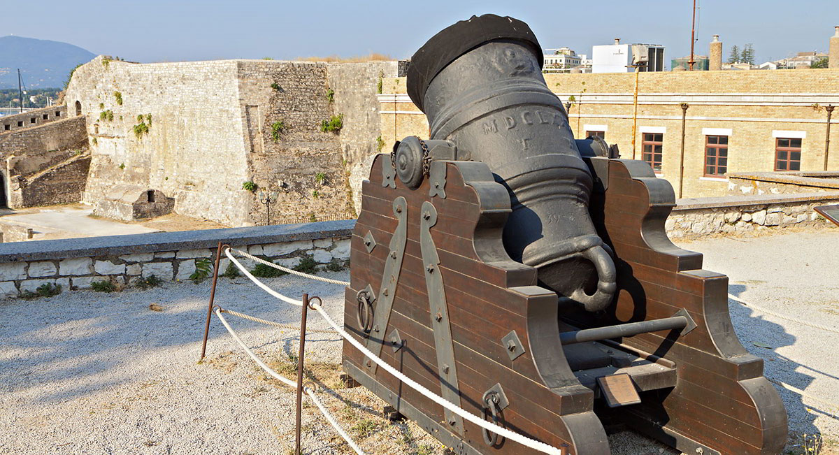 shutterstock 151790891Old gun at the castle of Corfu island